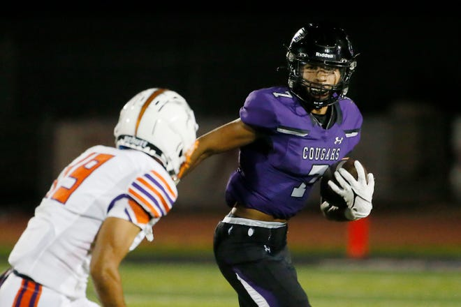 Franklin's Miles McWhorter goes against Eastlake defense during the game, Friday, Oct. 8, 2021, at Franklin High School in El Paso.
