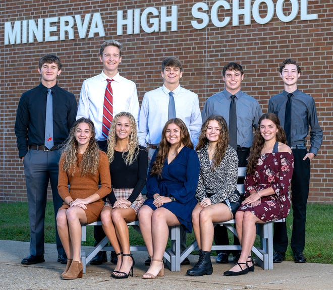 Members of the 2021 Minerva Fall Homecoming Court are (seated, left to right) Lydia Brunner, Jenna Cassidy, Josie Jones, Queen Jamie Rine and Rylan Smith; and (standing) Nick Chaddock, Alex Chadwick, Brayden Costea, Erik Murray and Joey Thewes.
