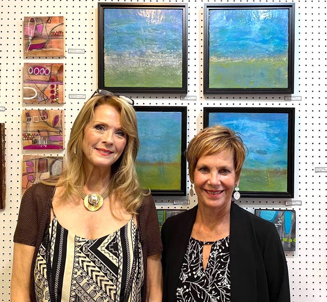 Cathi Cindia (left) and Therese Cook are the October featured artists at Market Street Art Spot.