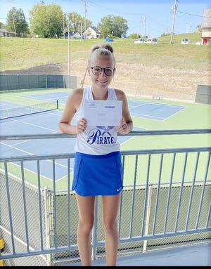 Boonville junior Emma Neidig was all smiles after winning her sectional match against Monett's Meagan Hull 6-0, 6-0 during the Class 1 Sectional 5 Tournament Friday in Jefferson City. Neidig, 22-1 on the season, will now advance to the state tournament in Springfield on October 14-16.