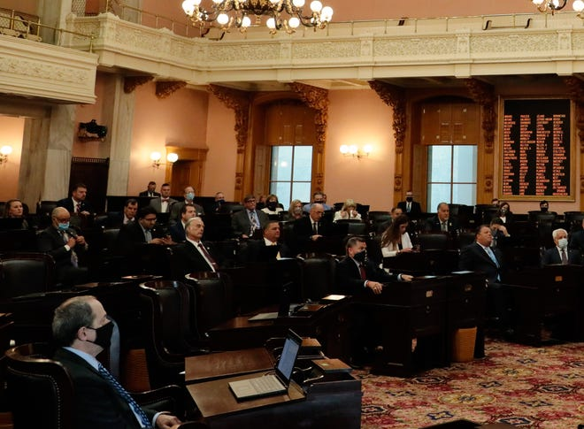 The Ohio House of Representatives in session at the Statehouse in Columbus in July 2020