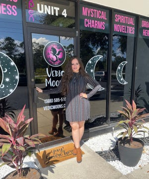 Erica Bridgham stands in front of her business, Vedic Moons, in the St. Joe Business Center.