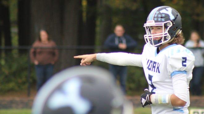 York High School quarterback Luke Doughty directs traffic during Saturday's 33-12 loss to Fryeburg Academy.
