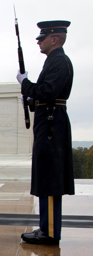 An Army guard at the Tomb of the Unknown Soldier in Arlington National Cemetery.