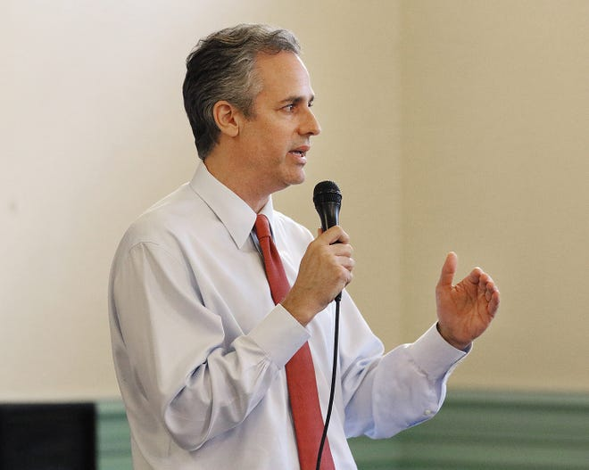 Gubernatorial candidate Matt Brown holds a town hall-style meeting in Cranston in 2018. Brown, founder, a director and co-chair of the Rhode Island Political Cooperative, is again running for governor.