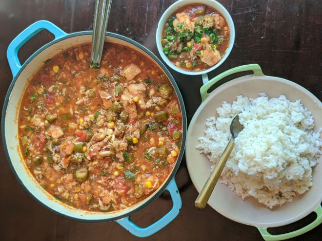"""Chef Kevin Mitchell created his own version of classic catfish and crab stew for """"Taste the State."""" (Courtesy of University of South Carolina Press)"""