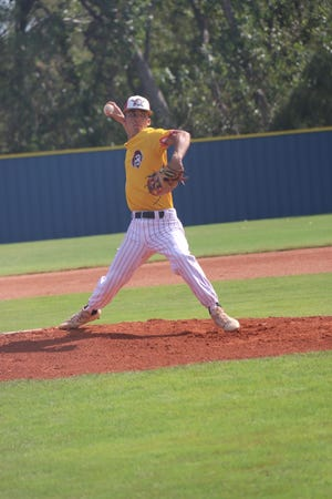 Dale pitcher Connor Kuykendall makes the delivery against Silo Friday in the semifinals of the Class A State Fall Baseball Tournament in Oklahoma City.