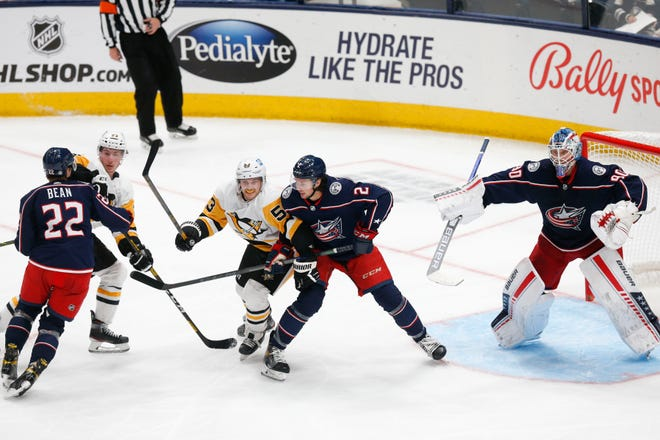 Pittsburgh Penguins attempt to score against the Columbus Blue Jackets during the NHL game at Nationwide Arena in Columbus, Ohio, on Saturday, Oct. 9, 2021.