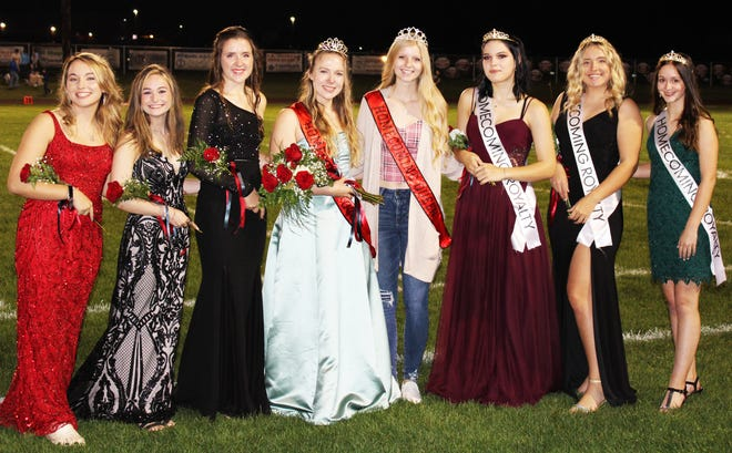 Kylie Sipple (fourth from left) was selected to serve as the 2021 Meyersdale Area High School homecoming queen Oct. 8. She is seen with her fellow contestants from left: Madison Porter, Kylie Spataro and Melanie Riether; 2020 homecoming queen Abby Shuck; and attendants Jasmine Lasure, (junior attendant) Maci Moore, (sophomore attendant) and Malia Sines (freshman attendant). Evan Brenneman was named 2021 Red Raiders homecoming king but was not available for a photo.