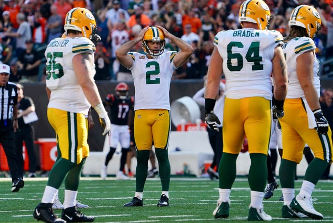 Green Bay Packers kicker Mason Crosby reacts after a missed field-goal try against the Cincinnati Bengals at Paul Brown Stadium.