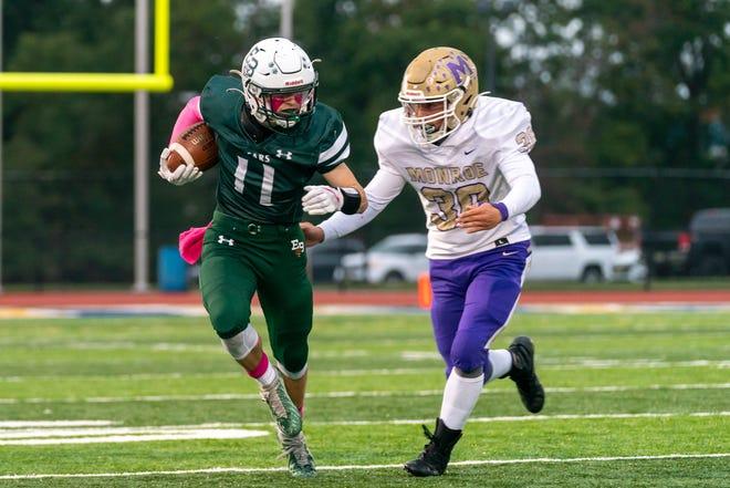 Monroe and East Brunswick high school football teams met Saturday night at the football field at Franklin High School.