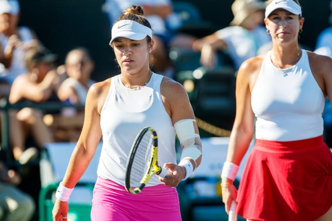 Desirae Krawczyk, left, and her doubles partner Alexa Guarachi competed against Veronika Kudermetova and Elena Rybakina during the BNP Paribas Open in Indian Wells, Calif., on October 10, 2021.