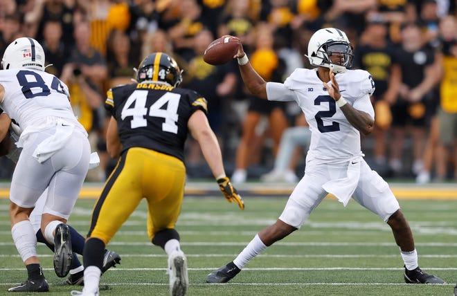 Penn State quarterback Ta'Quan Roberson (2) looks to pass during the second half of an NCAA college football game against Iowa, Saturday, Oct. 9, 2021, in Iowa City, Iowa. Iowa won 23-20. (AP Photo/Matthew Putney)