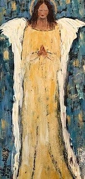 """Chantal Littleton's """"Angel series,"""" painted in acrylic on Tar paperboard."""