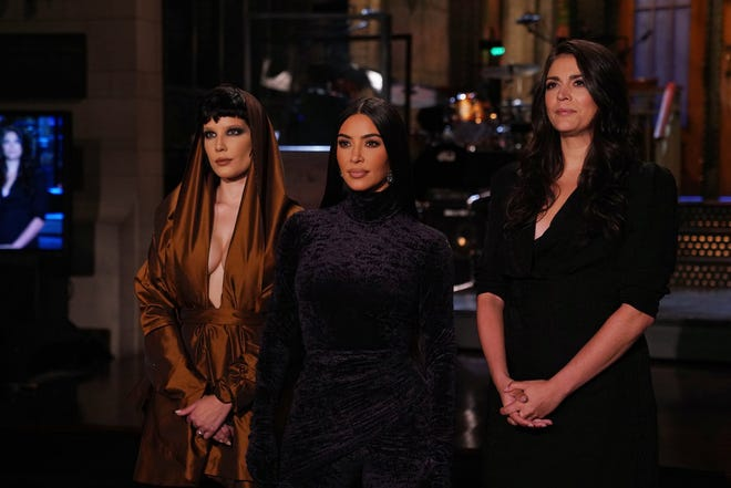 """Kim Kardashian West, with Cecily Strong, hosts """"Saturday Night Live"""" on Oct. 9. Halsey is the musical guest."""