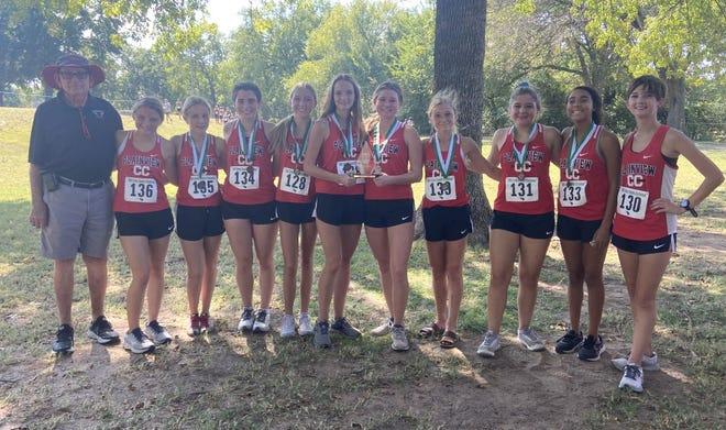 The Plainview girls cross country team poses for a photo after taking first at the Oklahoma Baptist University meet.