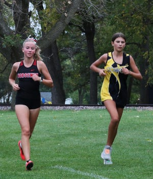 Makenna Carlson placed 17th to help Roland-Story win the girls' team championship at the South Hamilton Invitational cross country meet Oct. 7 in Jewell.