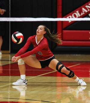 Roland-Story libero Ally Ringsby goes for a dig during the No. 12 Norse's sweep of South Hamilton Oct. 5 in Story City.
