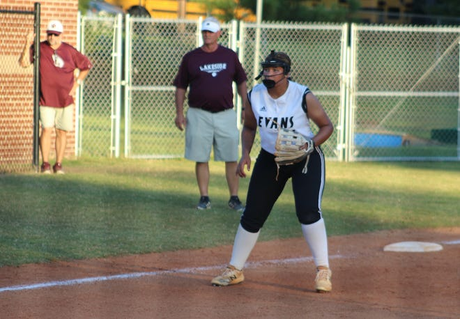 Evans third baseman Kayla Carter prepares for a pitch against Lakeside on Sept. 28. Carter helped lead the Lady Knights to a Region 3-AAAAAA title this season.