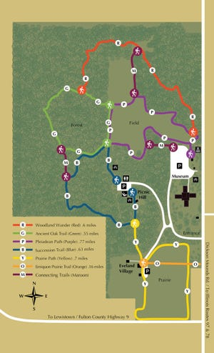 Pictured is a map of the new trailhead kiosks at Dickson Mounds Museum.