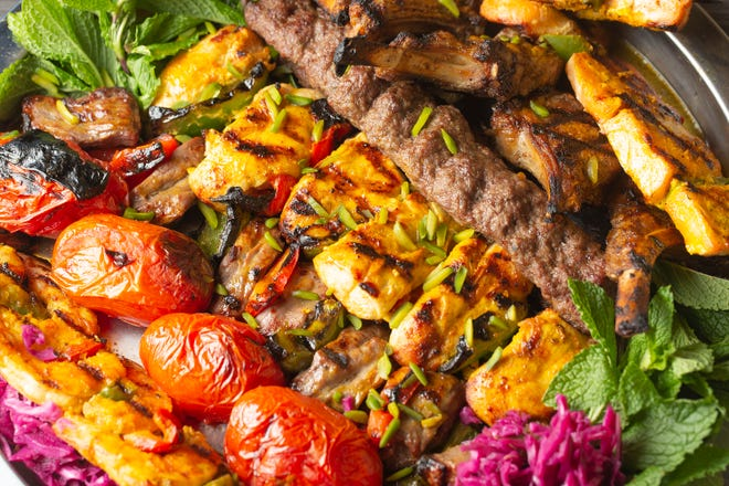 Mixed kebab platter from Charmy's Persian Taste, located inside Hills Market Downtown.