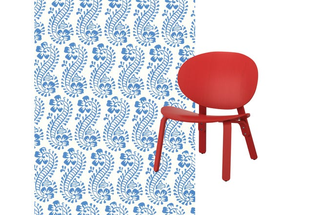 Molly Mahon Lani Blue wallpaper, Forset chair in red ($99) from Ikea