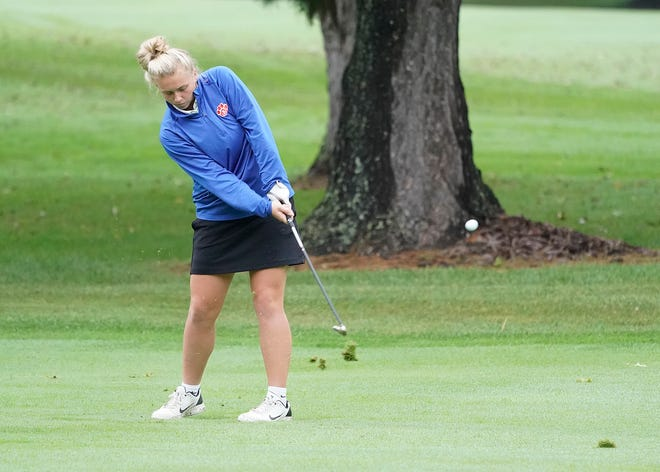 Lenawee Christian's Avery Sluss chips onto the green during the Division 4 regional meet at The Hills of Lenawee. [Telegram photo by Mike Dickie]