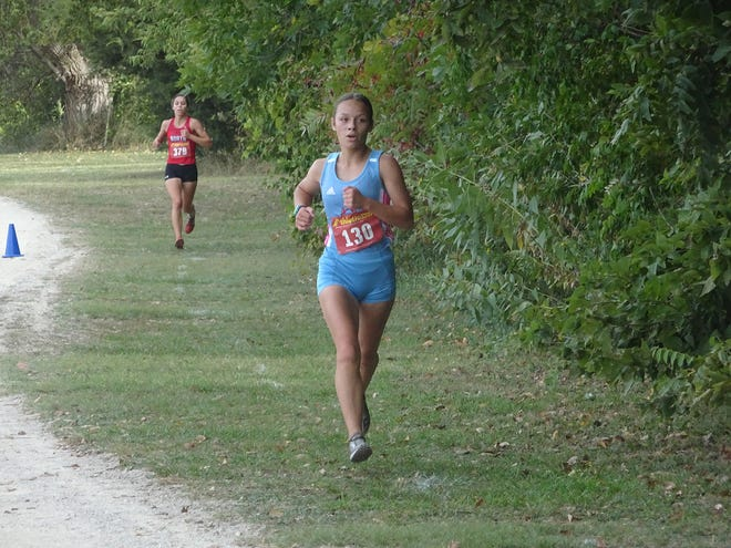 Serenity Larson competes at the Salina Invitational on Oct. 9. Lawson took first place for Dodge City High School.