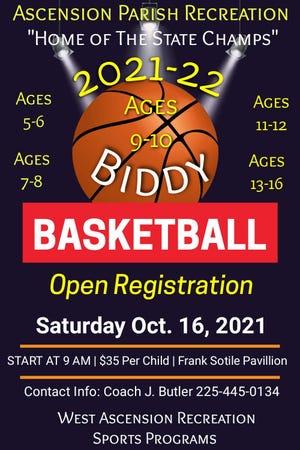 Registration opens for biddy basketball Oct. 16 at the Frank Sotile Pavilion in Donaldsonville.
