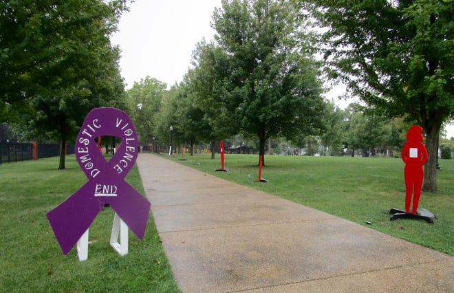 A Silent Witness display in Geneseo North City Park creates a sharp and sad message intended to engage the community in helping putting an end to domestic violence. The display, as well as other efforts in surrounding communities, has been put in place by Freedom House staff