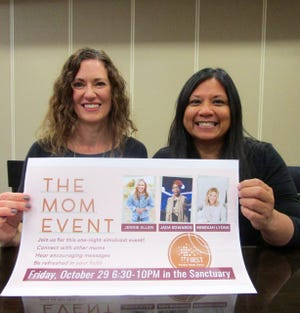 """Yvette Biddle, director of discipleship at First United Methodist Church in Geneseo; and Merriam Jolly, church member who also serves on the event team, invite area moms to the """"The Mom Event"""" on Friday, Oct. 29, at the church."""