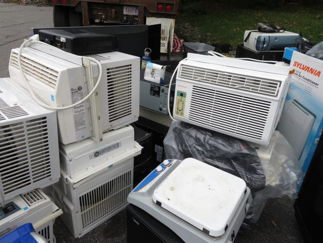 Air conditioners were among the items collected at an electronics recycling event at St. Philip Neri Church on Oct. 9.