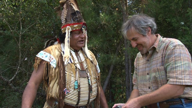 Filmmaker David Weintraub interviews Chief Harold Hatcher of the Waccamaw Indian People for a recent film project.