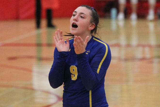 Hutchinson junior setter Josie McLean celebrates during the Nickerson Panthers' tournament appearance at the McPherson invitational Saturday, Oct. 9, 2021. The Panthers finished second overall.
