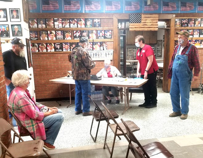 The afternoon of Oct.  6, the Bucklin Unit 57 American Legion Auxiliary conducted a Red Cross Blood Drive, at the Bucklin Legion Hall.  Wilma Jobson (seated) is shown taking donors information.