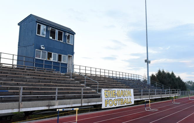 The aged home bleachers that service the football stadium behind Erie Mason High School have been deemed unsafe and are no longer being used for games.