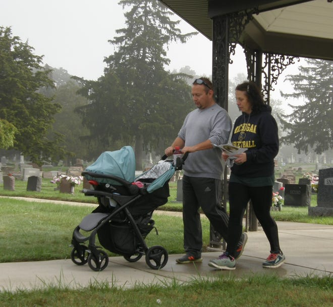Lindsay and Will Dodd of Monroe participated in the Remembrance Walk. Last year, Lindsay had a miscarriage in July and the couple walked to honor their son, Nathan Philip. This year, their walk included their three-month-old daughter, Theodora Elyse. She was born July 12.
