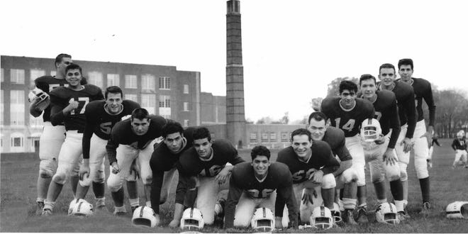 Proctor High School had some great football teams in the early and mid-1960s, Coach Pete Pace's Panthers included such stars as Joe Randall, Art Asselta, Dave Cash, Mike Arcuri, Pete Zogby, Bob Nicotera, Sam Ameduri and players shown here, from the left: Al Belmont, Victor Nole, Al Dannes, Fred Cognetti, Joe Lucenti, Charles Ricci, Frank Broccoli, Anthony Showa, Angelo Scaccia, William Abraham, Joe Radel, Gene Getti and Peter DeCesare.