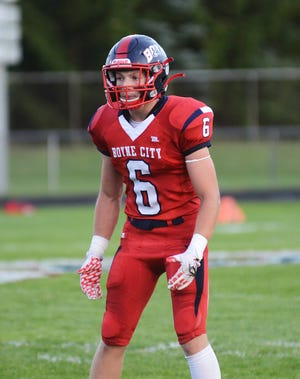 Boyne City's Kaden Jewett had a pair of touchdown receptions as the Ramblers rolled past Mancelona, 50-18, on Friday.