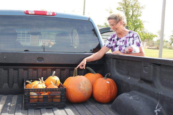 Melodie Spare counts pumpkins left to sell Saturday at the Pratt Farmer's Market where she shares family farm vegetables from Spare Produce Farms, St. John.