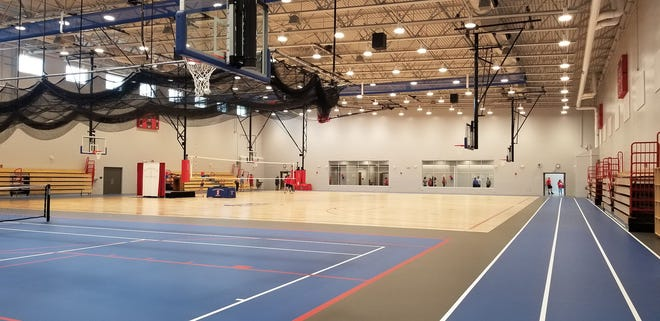 A view of the courts inside the new fieldhouse at Martinsville High School. The building was officially dedicated on Friday, Oct. 8, 2021.
