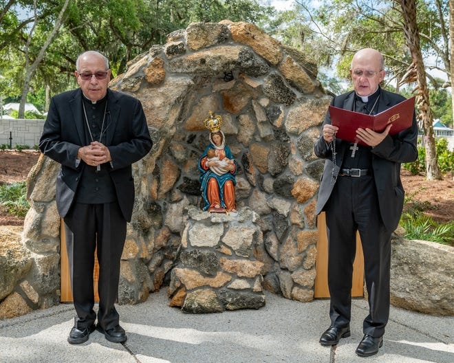 Rev. Felipe Estévez, bishop of St. Augustine, and Carlos Cardinal Osoro Sierra, archbishop of Madrid and Papal Legate for the Canonical Coronation of Our Lady de La Leche, joined in blessing the new Rosary Garden on the grounds of the National Shrine of Our Lady de La Leche and praying the rosary there for the first time Saturday morning with Catholic supporters and benefactors.