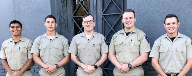 Stephenville Police Department announces its newest police cadets. Pictured from left are Emmanuel Olvera, Austin Pittaway, Austin Harvey, Trevor Augustus and Tucker Click. The cadets started Monday morning in class 209 of the Tarrant County College Law Enforcement Academy. The academy will run through March 11 and will challenge them mentally and physically.