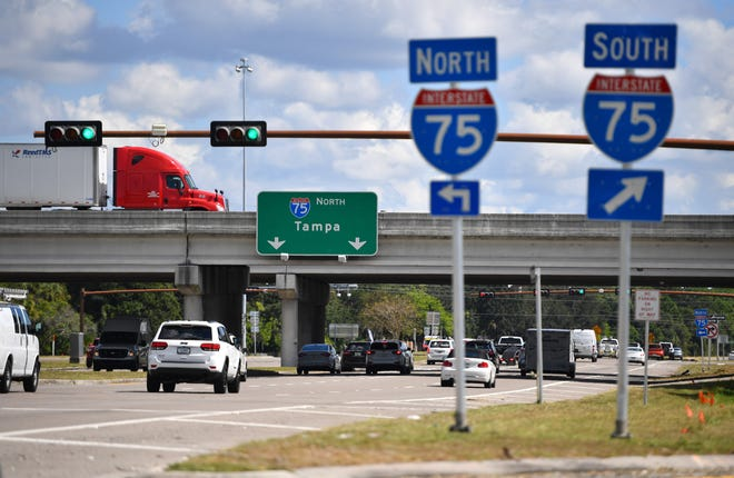 The Florida Department of Transportation is about to start work on a project that will reconstruct the interchange at I-75 and Clark Rd. When completed, the interchange will be a diverging diamond, similar to the one at University Parkway and I-75. The project begins officially on Oct. 15 and is expected be finished in 2023. Traffic on I-75 passes over Clark Rd.
