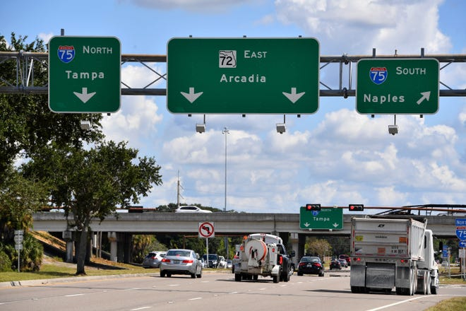 The Florida Department of Transportation is about to start work on a project that will reconstruct the interchange at I-75 and Clark Rd. When completed, the interchange will be a diverging diamond, similar to the one at University Parkway and I-75. The project begins officially on Oct. 15 and is expected be finished in 2023.  Looking east on Clark Rd., toward the I-75 overpass.