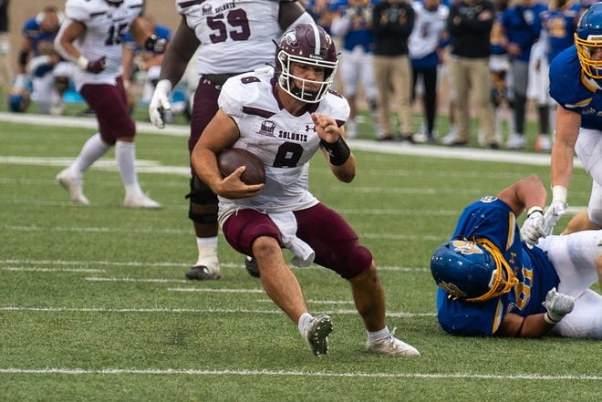 Southern Illinois quarterback and Rochester graduate Nic Baker in SIU's 42-41 overtime win against South Dakota State on Saturday, Oct. 9.