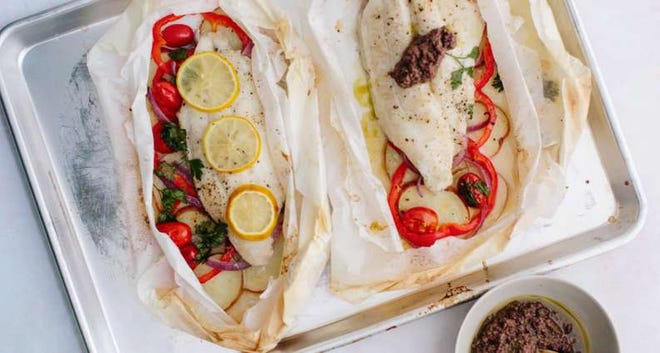 Catfish in Parchment Paper with Olive Tapenade
