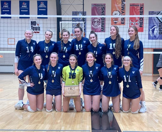 Sault High won the Escanaba Elks Invitational volleyball tournament Saturday. The Blue Devils downed Houghton in the championship match at Escanaba High School.
