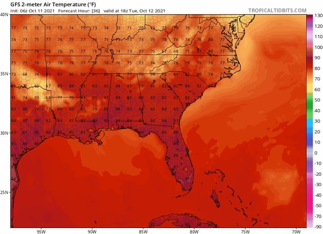 Temperatures in the region will climb back into the upper 80s this week.