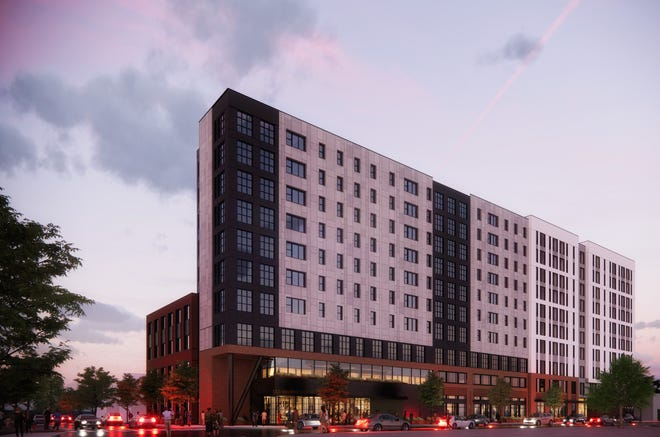 A rendering of a proposed 10-story, mixed-use development planned for West University Avenue near the University of Florida campus. The project would include 151 rental units, with about 10% of those reserved for affordable housing. [Submitted art]